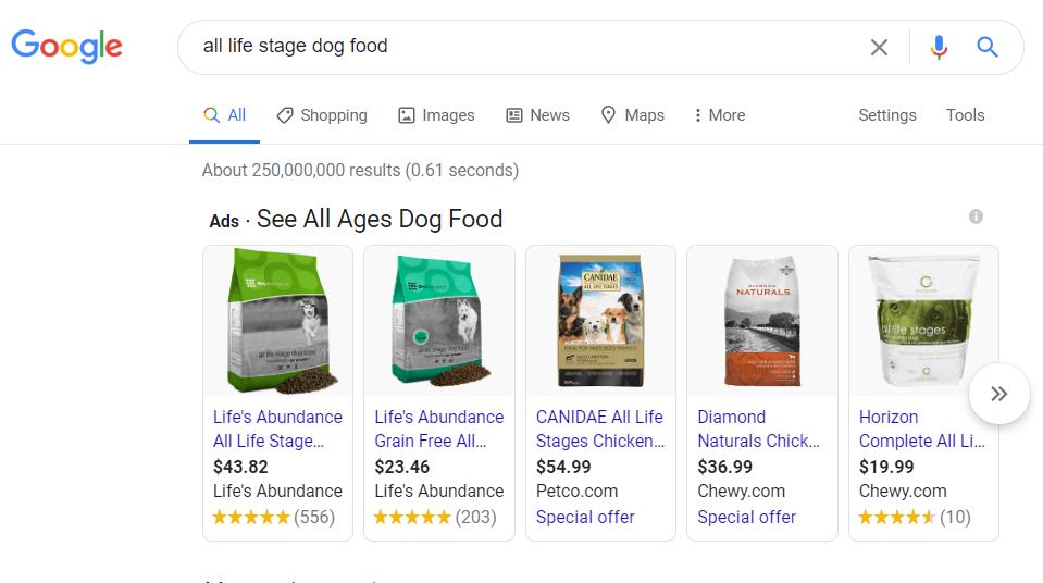 Dog Food google shopping 1