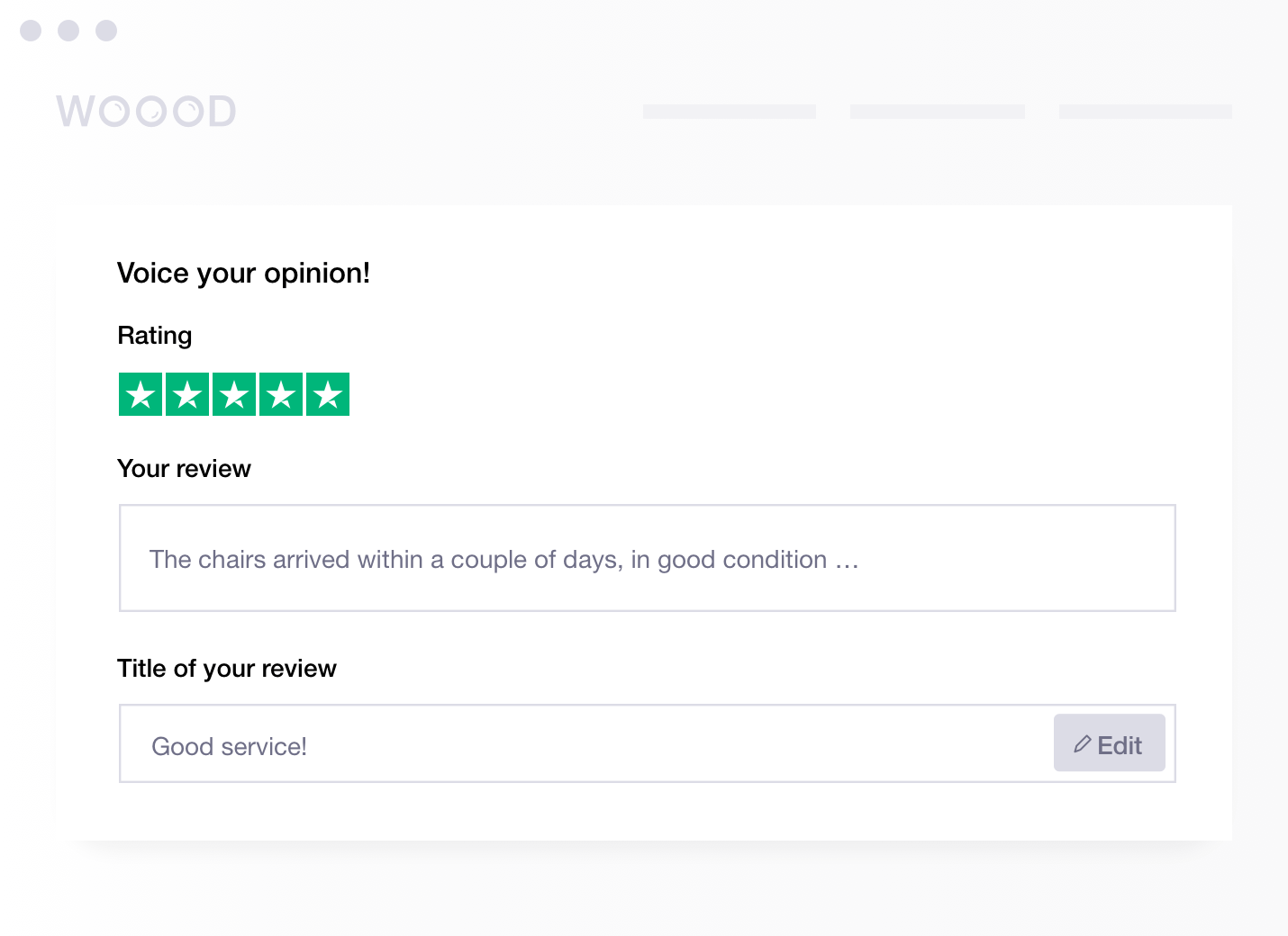 Product illustration of an embedded review form from Trustpilot