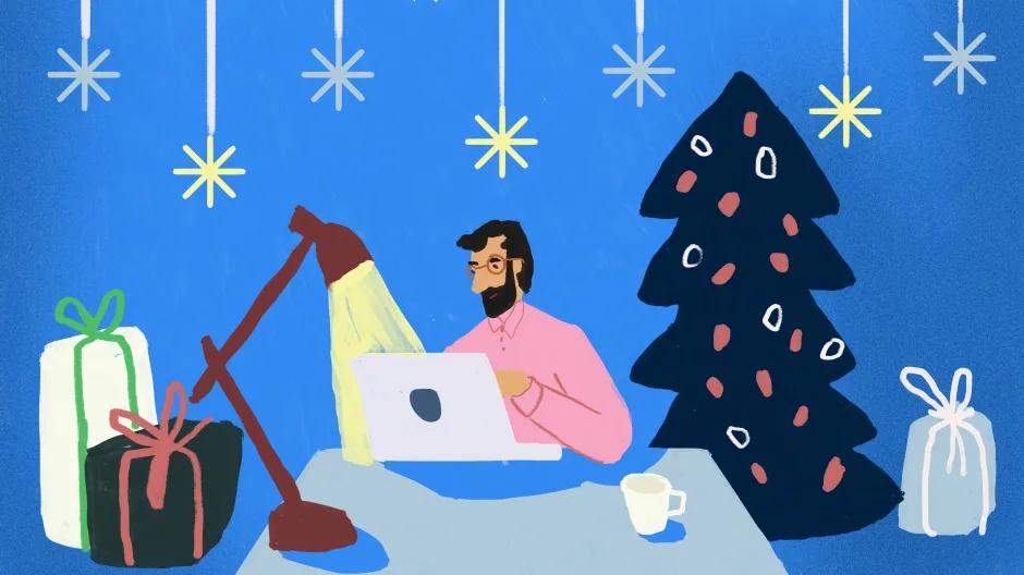 Illustration eines Kunden, der seine Weihnachtseinkäufe per Onlineshopping erledigt