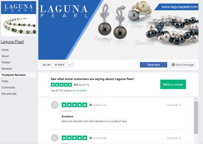 laguna pearl facebook trustpilot integration