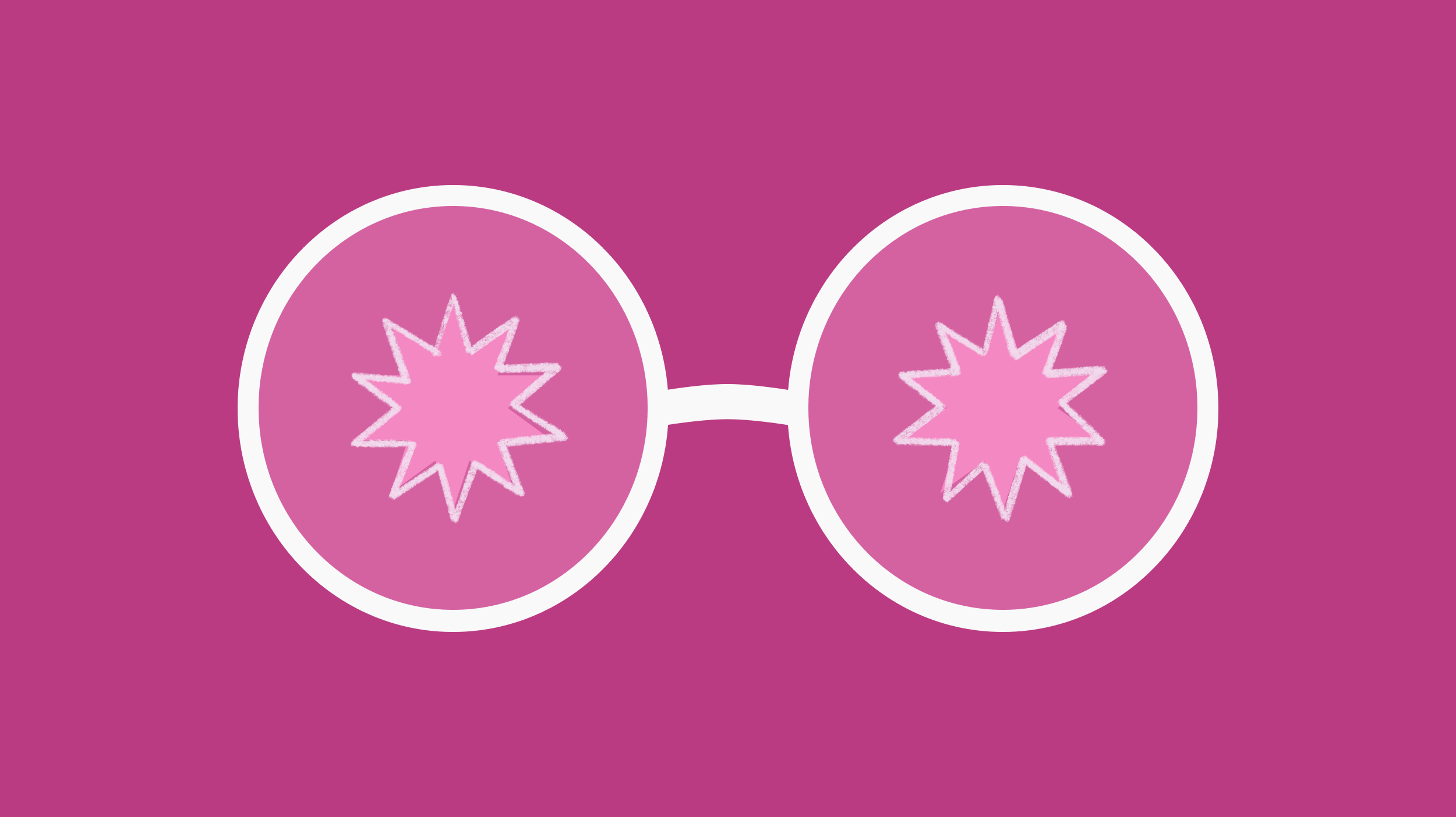 Glasses on pink background