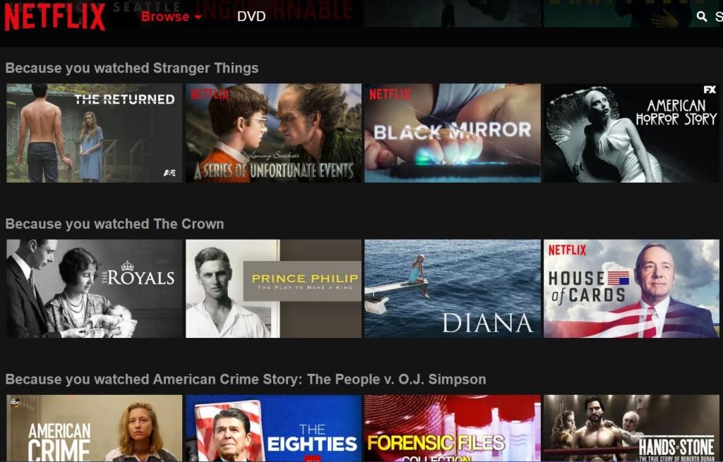 Netflix's personalised homepage