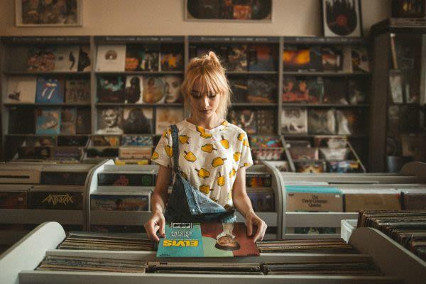 Woman in Vinyl Store