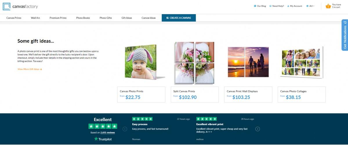 trustpilot homepage canvas factory