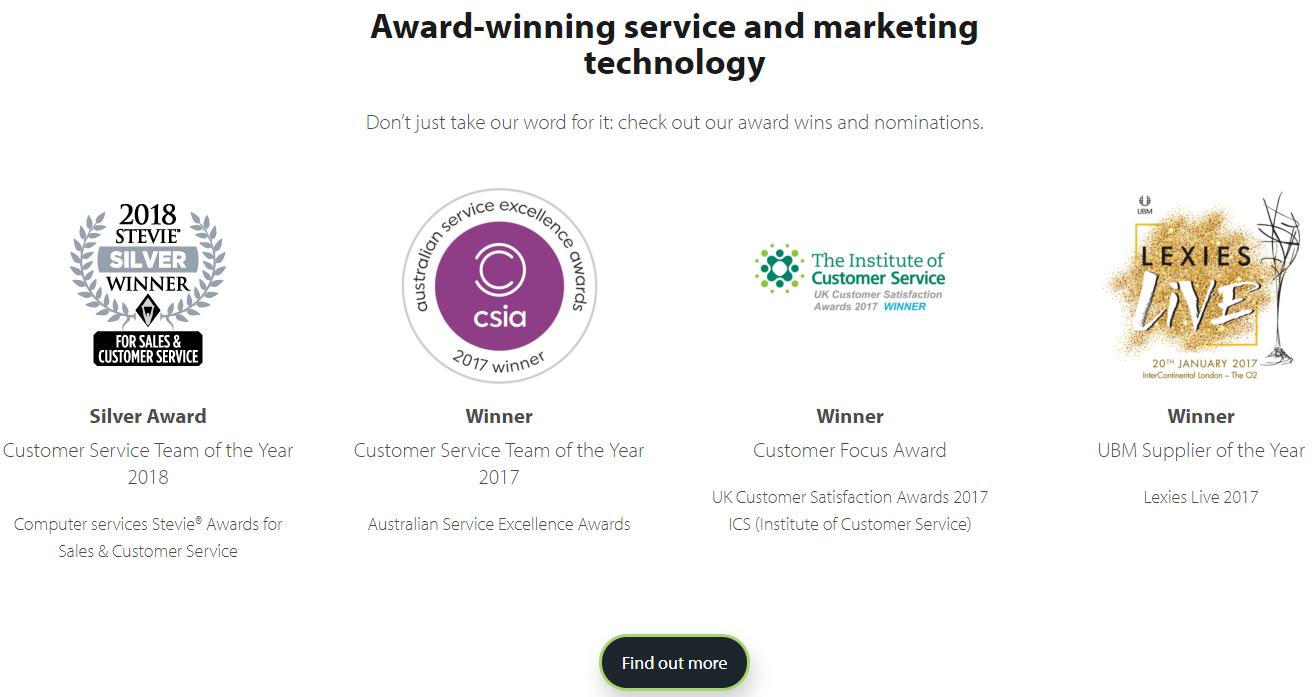 Adestra screenshot - winners/prizes
