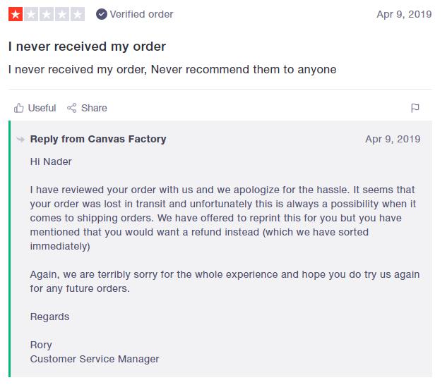 trustpilot review canvas factory