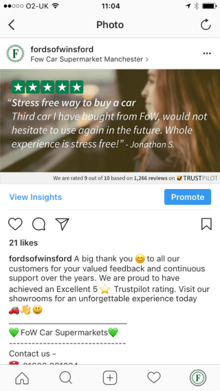 Trustpilot - Fords of Winford Instagram