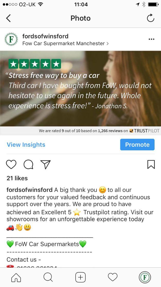 Trustpilot - Fords of Winford Instagram