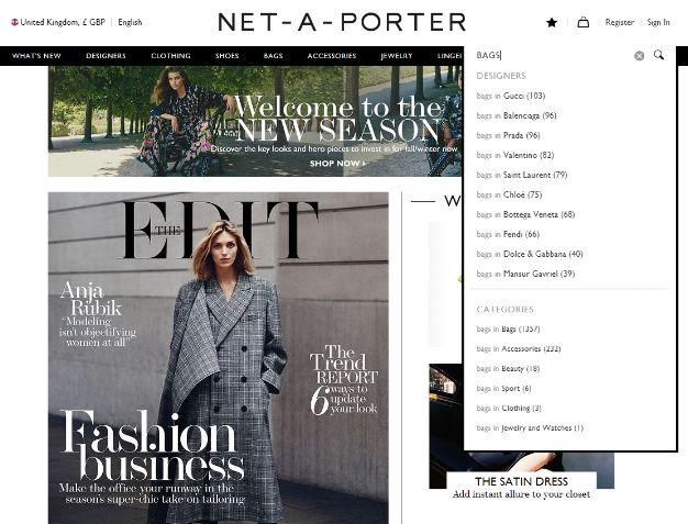 Net-A-Porter, barra di ricerca