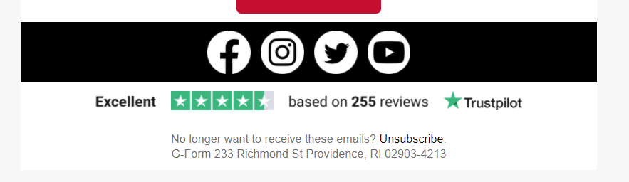 Ratings in email footer