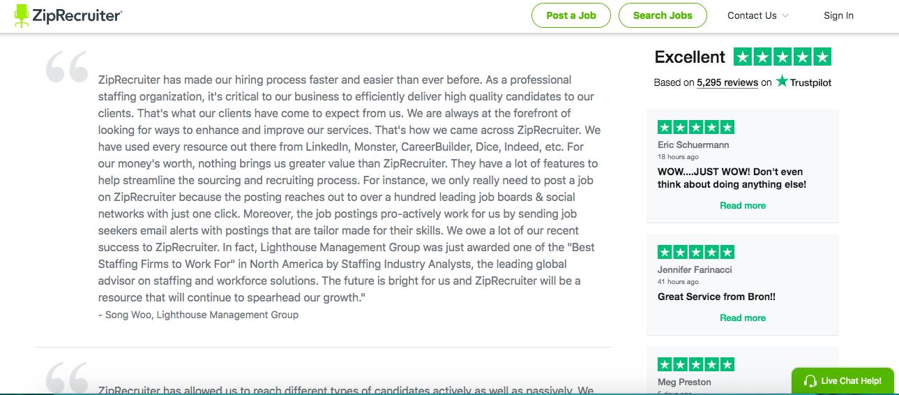 ZipRecruiter Reviews Onsite