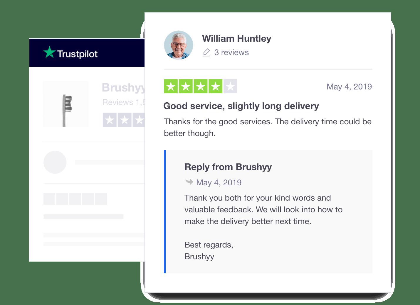 Trustpilot company response to consumer review