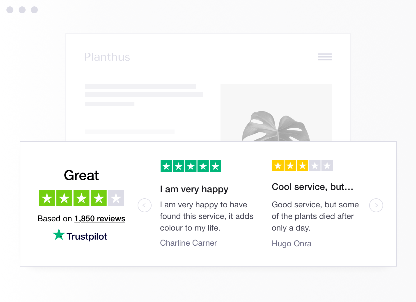 Product illustration of a specific type of Trustpilot TrustBox widget showing a carrousel with reviews