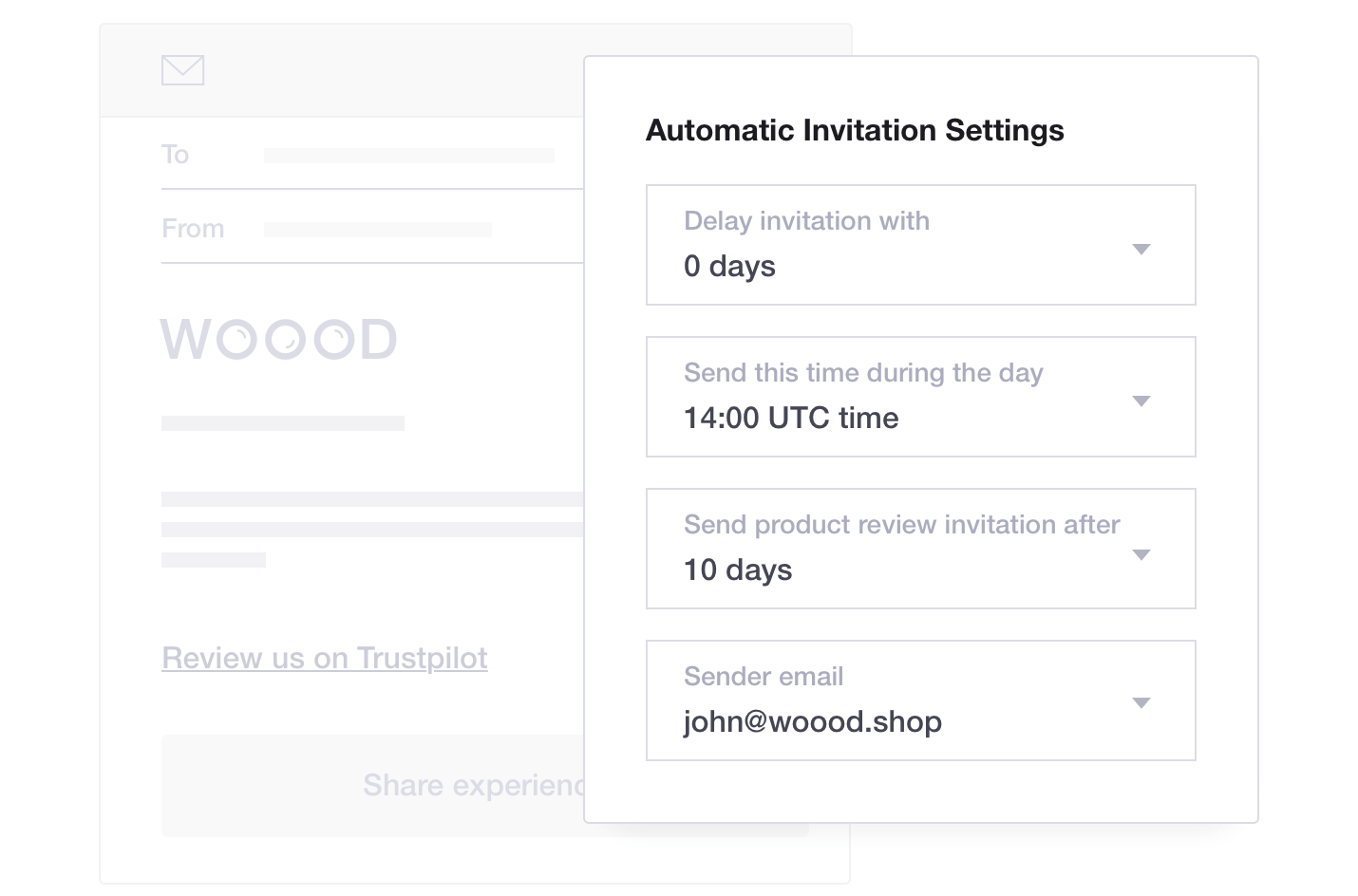 Trustpilot Automatic Invitation Settings - WOOOD