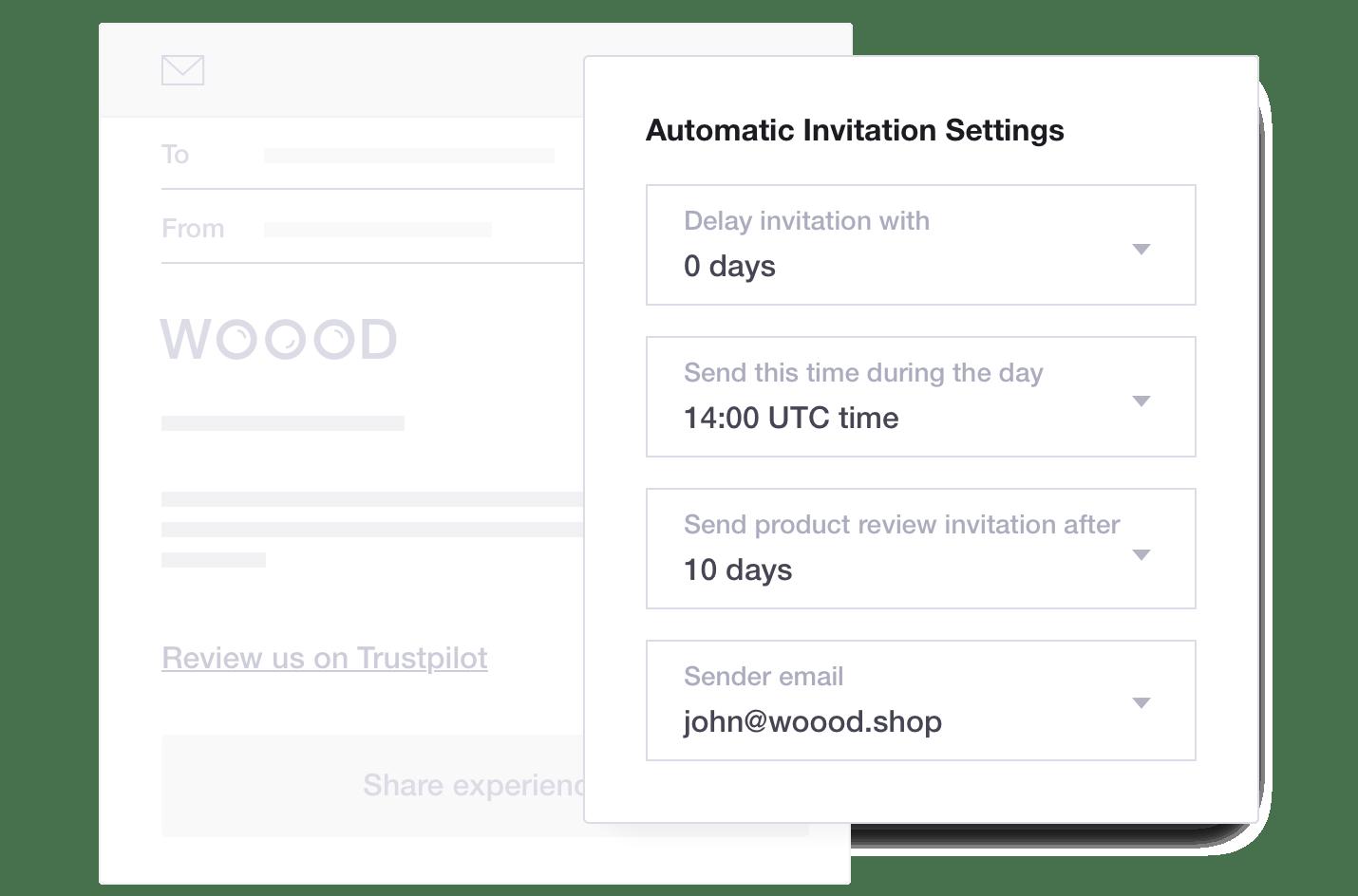 Trustpilot Automatic Invitation Settings - WOOOD