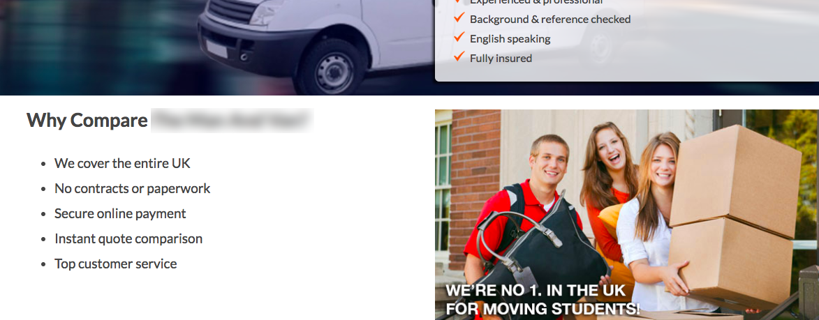A screenshot excerpt of a moving company's site