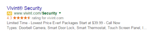 Vivint Google Adwords ad