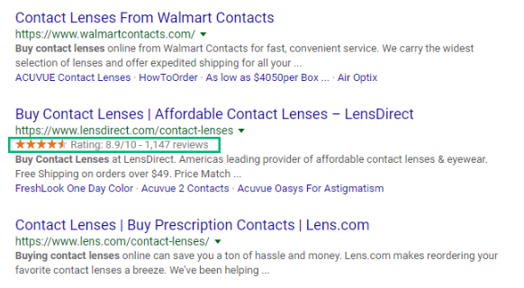 LensDirect rich snippets SERP
