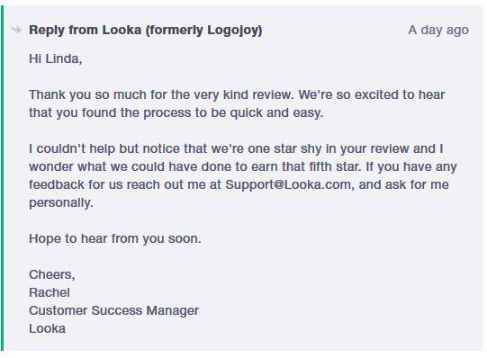Customer Success Example from Looka