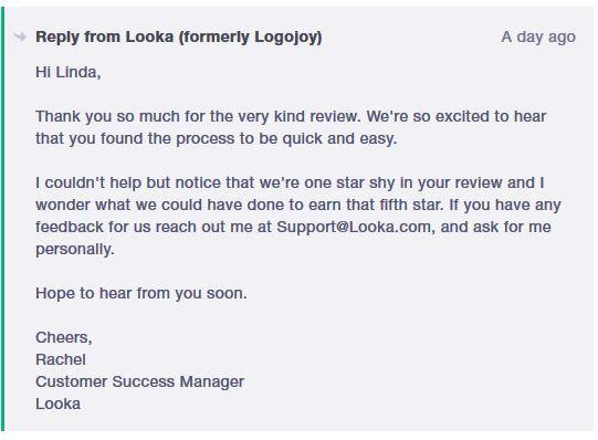 Customer Success Example from Looka