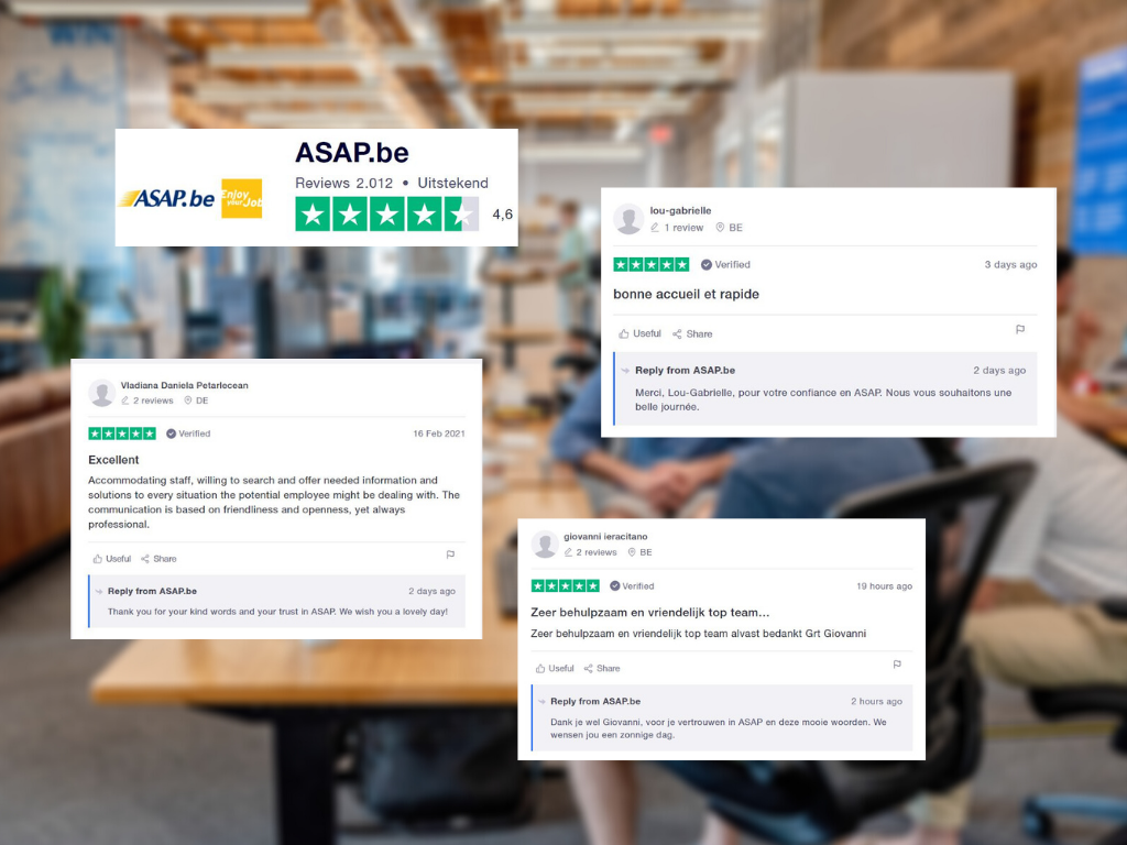 A glimpse of ASAP's international character: the agency replies in French, English, and Dutch