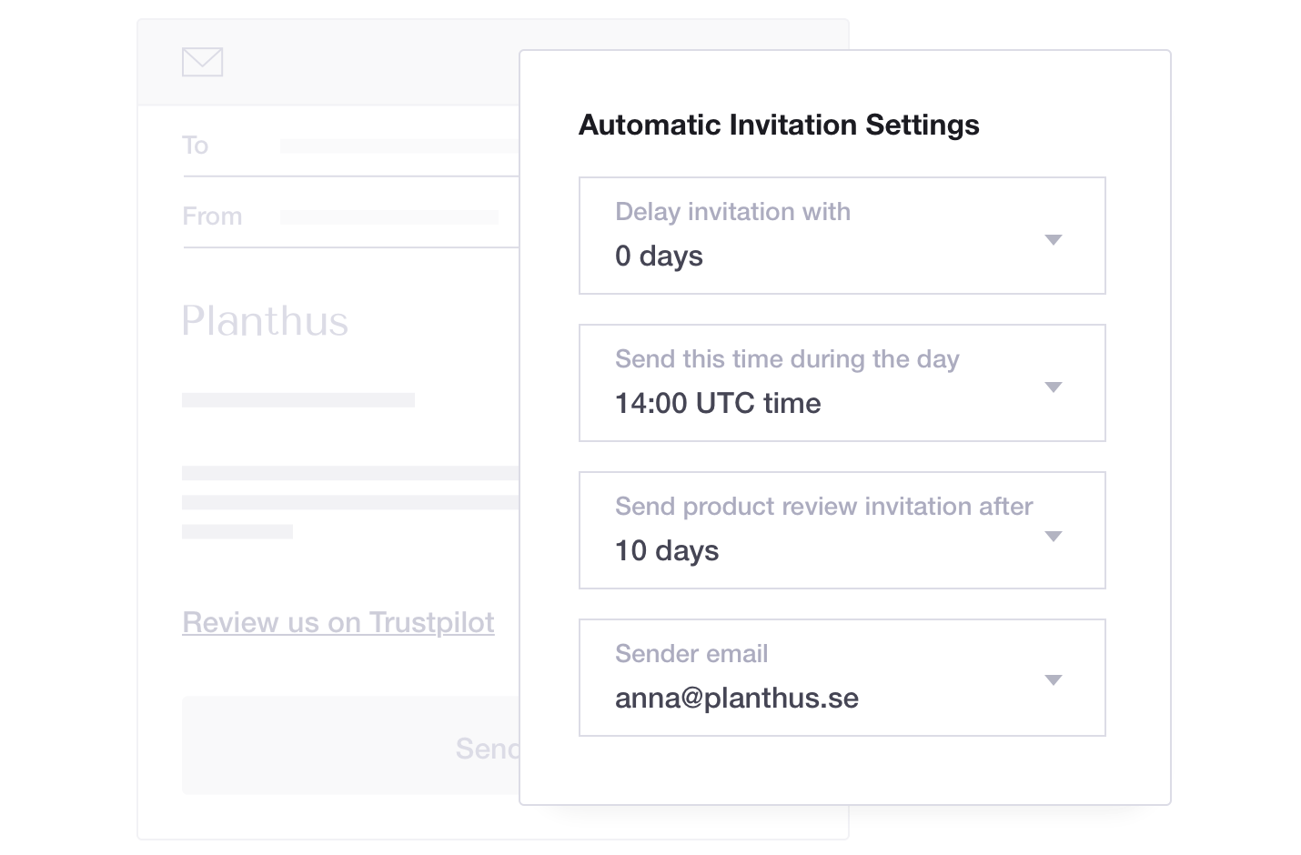 Product illustration of Trustpilot's Automatic Feedback Service feature, including automatic invitation settings