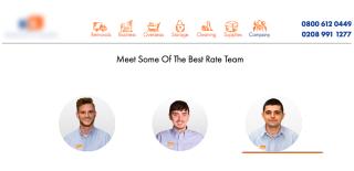 Immagine che mostra il sito di un'azienda di traslochi che fa vedere le foto dei membri del suo staff