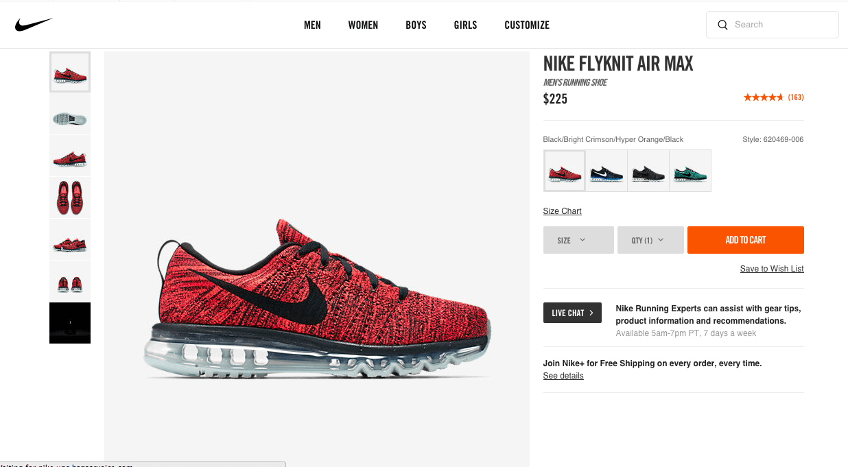 Nike Store offer a live chat function right on their product page
