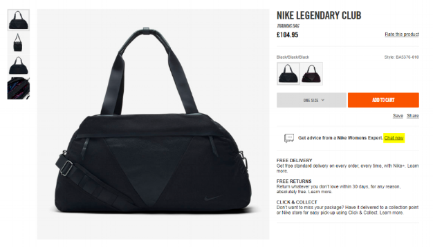 nike live chat on-page