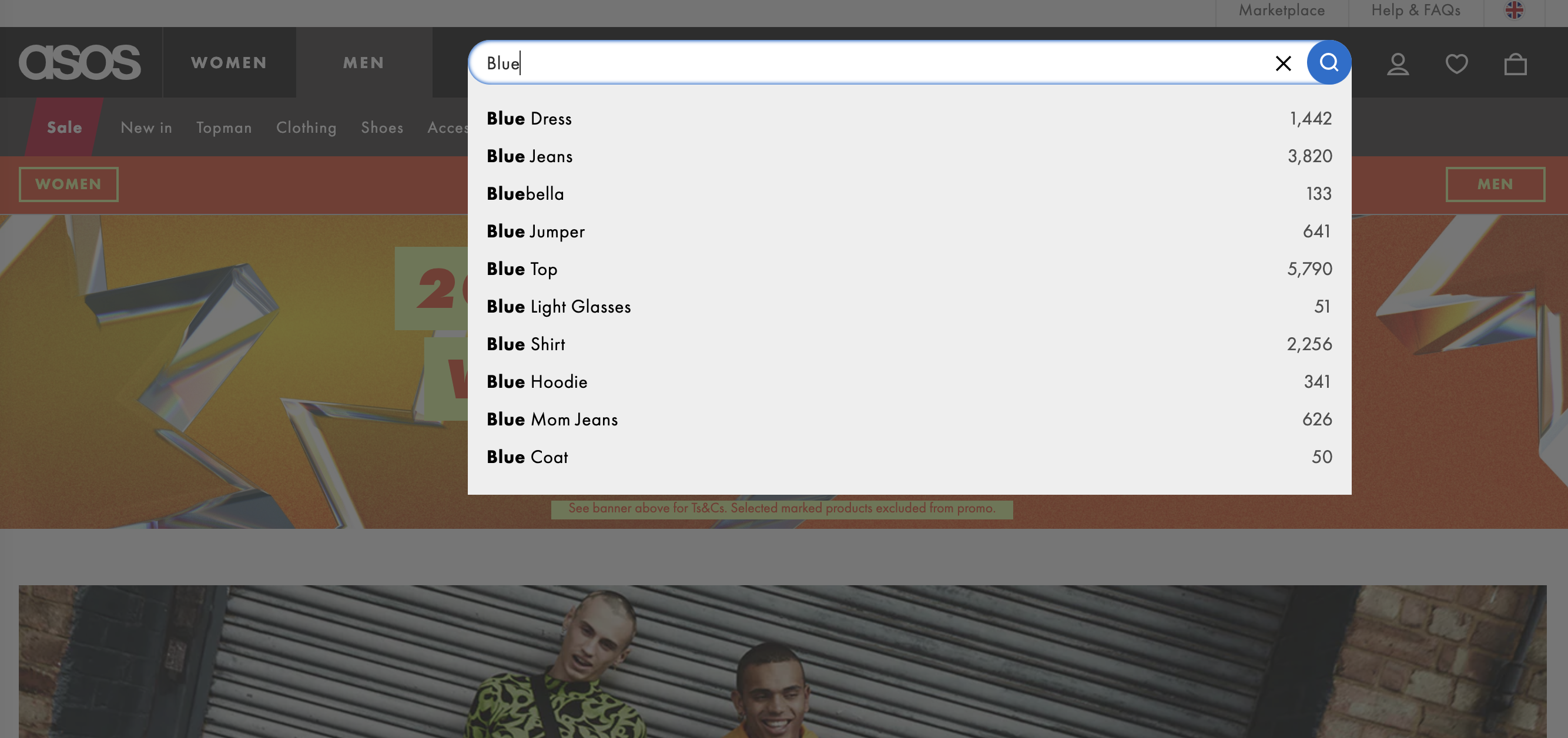 ASOS autofill their search bar with commonly typed keywords
