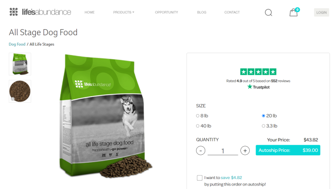 Dog Food product page 2