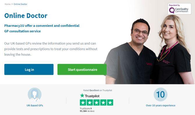 Pharmacy2U Trustpilot reviews on site