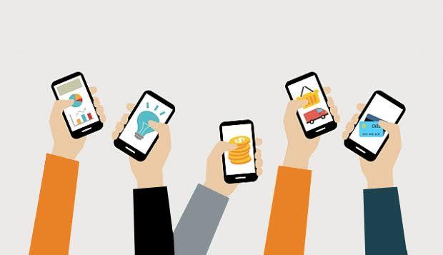 holding iphones