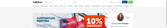 Image showing Helloprint's banner without Trustpilot's ratings during the A/B test