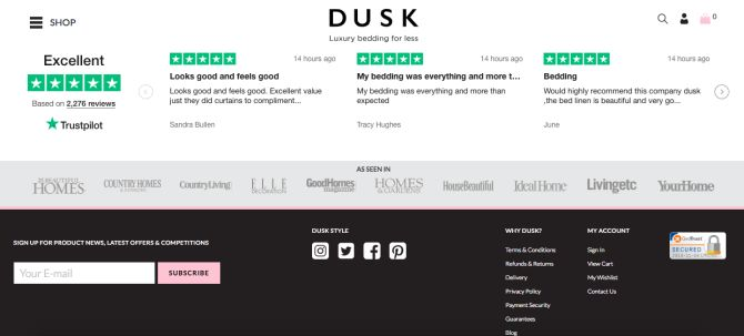 Dusk uses Trustpilot reviews directly on-site