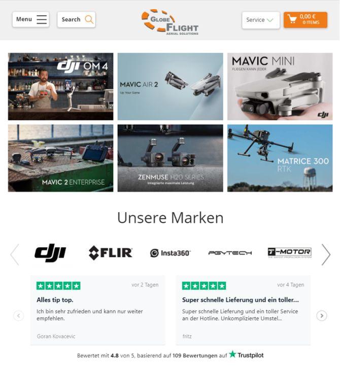 Präsentation von Trustpilot-Bewertungen auf der Website von Globe Flight