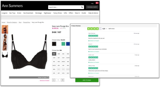 Produktbewertungen auf Website