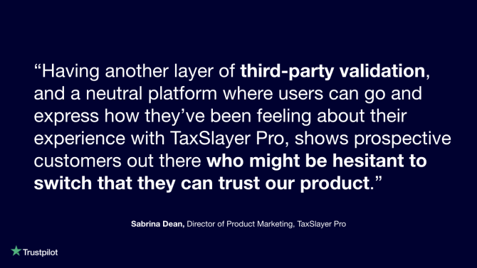 TaxSlayer Pro x Trustpilot testimonial
