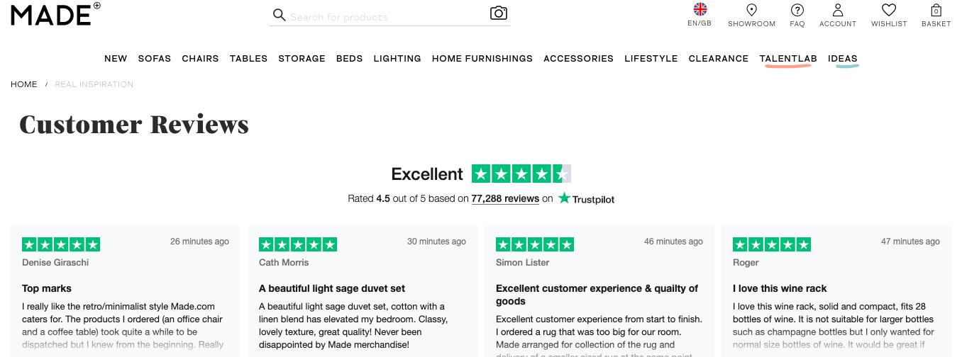 Made.com and Trustpilot reviews