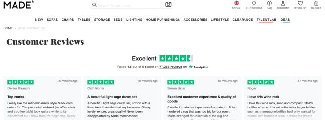 Made.com and Trustpilot reviews