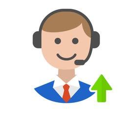 Grafik - lächelnder Kundenservice-Mitarbeiter