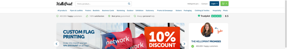 Image showing Helloprint's banner including Trustpilot's ratings during the A/B test