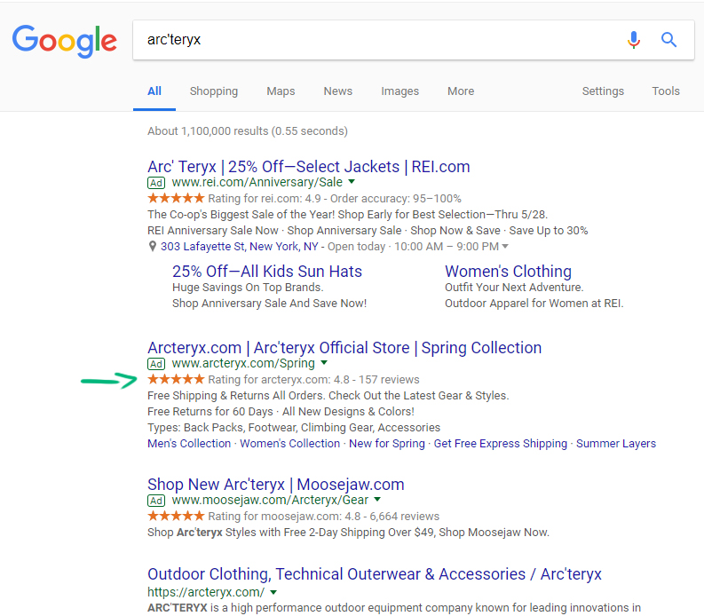Arc'teryx Google Seller Ratings examples
