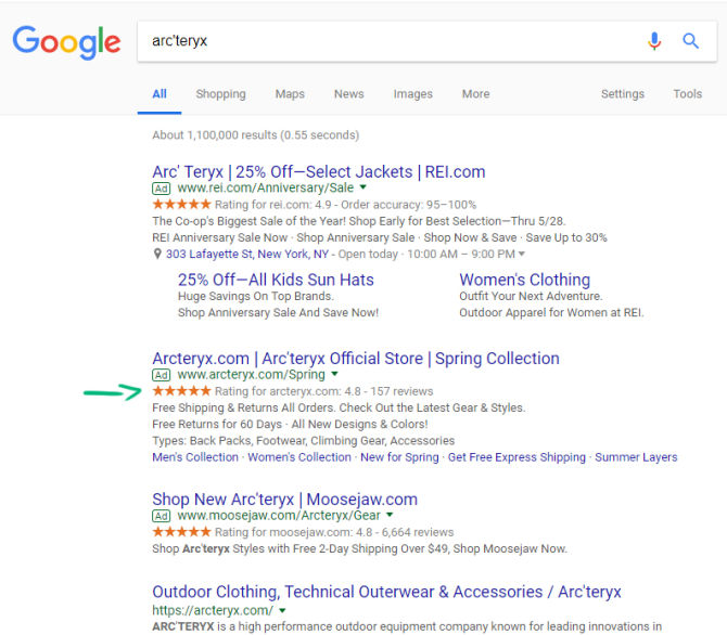 Arc'teryx Google Seller Ratings examples