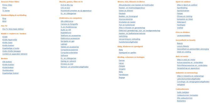NL Amazon categories