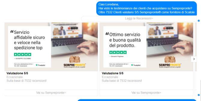 Immagine che mostra le recensioni di Trustpilot nei messaggi su Messenger