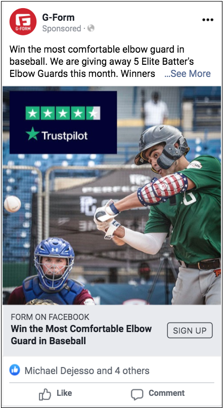 Star rating in paid social ad