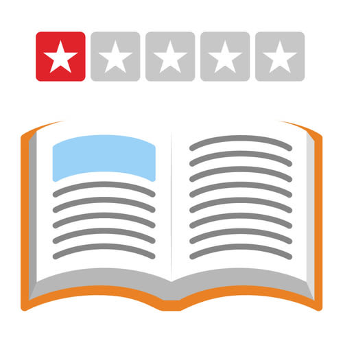 book open with a one star rating above it