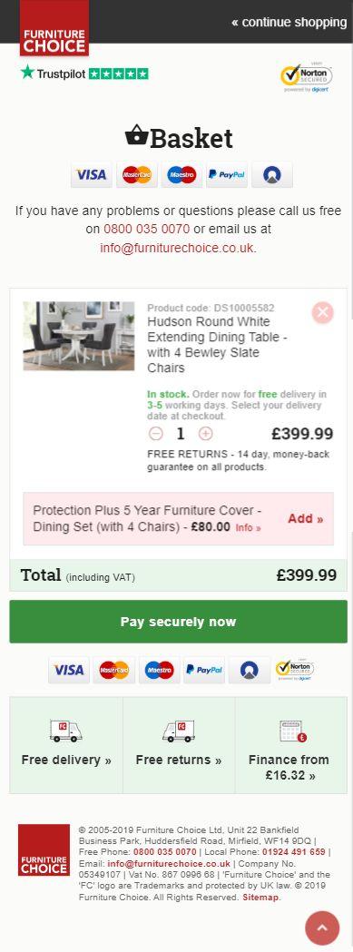 Kassenseite von Furniture Choice ohne Kundenbewertungen