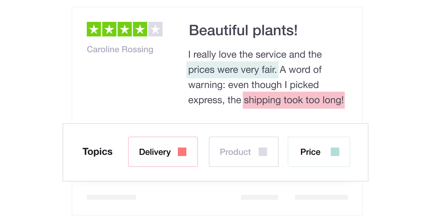 Illustration showing a Trustpilot review with the insights feature underneath